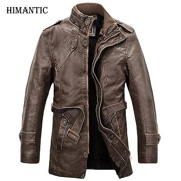Leather Jacket Men Long Wool Stand Collar Coat Men's PU Leather Jackets Overcoat Jackets