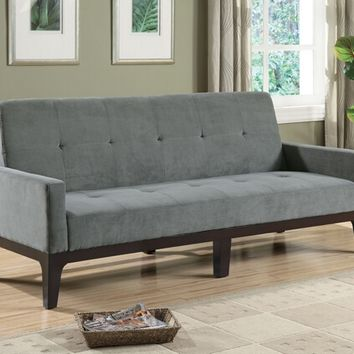 A.M.B. Furniture & Design :: Living room furniture :: Sofas and Sets :: Sofa Sets :: Blue gray microfiber fabric upholstered folding sofa bed with tufted back and seat with espresso finish wood frame