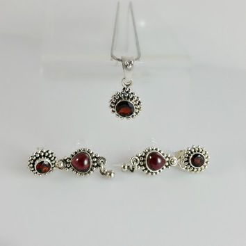 Red Garnet - Ruby Bali Sterling Jewelry Set - Bali Necklace - Bali Red Garnet and Ruby Dangle Earrings - Silver and Red Necklace & Earrings
