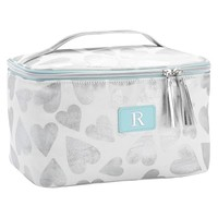 Sleepover Silver Tossed Hearts Large Makeup Case