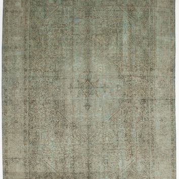 """8'0"""" x 10'11"""" Green Vintage Persian Overdyed Rug"""