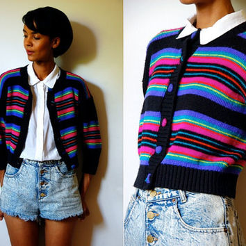 Vtg Neon Striped Cropped Button Down Knitted Sweater