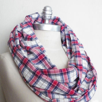 Circle Scarf, Infinity Scarf, Loop Scarf, Red, White, and Blue Plaid- Super Soft