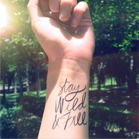 2pcs Stay Wild & Free calligraphy quote tattoo - InknArt Temporary Tattoo - wrist quote tattoo body sticker fake tattoo wedding tattoo small