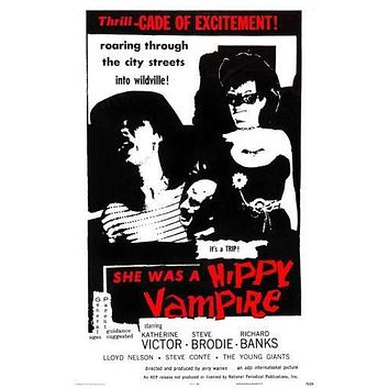She Was A Hippie Vampire Movie poster Metal Sign Wall Art 8in x 12in