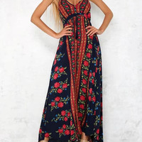 Navy Blue Halter Plunge Floral Print Tassel Split Maxi Dress