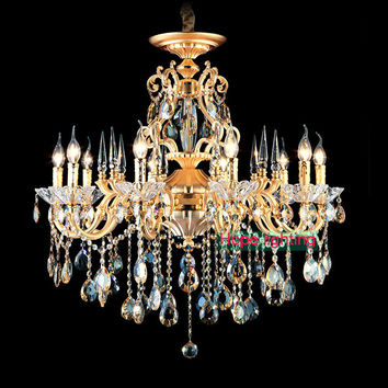 Bohemian Crystal Chandelier Traditional Vintage Chandeliers Bronze Brass Chandelier Antique Gold Crystal Lighting Candle