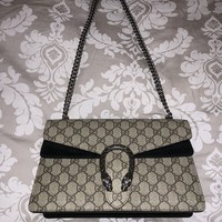 Authentic-Gucci-Dionysus-GG-Supreme-Shoulder-Bag-Small-Coated-Canvas-Black-Suede