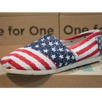 Toms Casual Slip Ons Womens Classic Canvas Shoes Blue American Flag