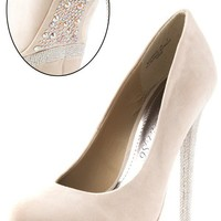 Beyonce05 Nude Rhinestone Sole Metallic Double Platform Pumps and Shop at MakeMeChic.com