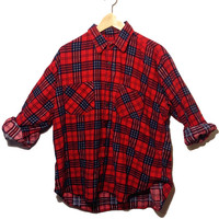 Vintage 90s Grunge Red and Navy Blue Oversized Super Soft Coleman Flannel Button Down Size Men's XL