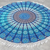 Round Mandala Tassle Fringe Turquoise Beach Throw Roundie Yoga Mat Table Cover