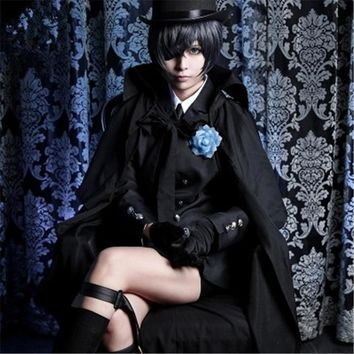 Anime high quality Black Butler Ciel Phantomhive Cosplay Costume Coat+Shirt+Tie+Pants+Leggings+Cloak+Crutch+eye mask suits