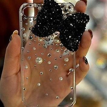 Simple 3D Black Bow Bling Crystal Pearl Clear Case Cover For Iphone 4 4S 5 5g