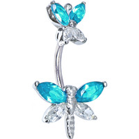 Sterling Silver 925 Aqua Cubic Zirconia Butterfly Dragonfly Belly Ring | Body Candy Body Jewelry