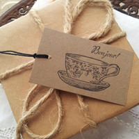 French Inspired Teacup Kraft Tags Set of 10