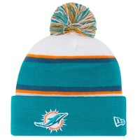 New Era Miami Dolphins 2013 On-Field Player Sideline Sport Knit Hat - Aqua/White