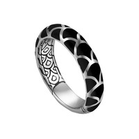 Naga Silver Band Ring with Black Enamel, 5.3mm, Size 7 - John Hardy - Silver (7)