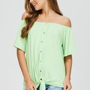 Off Shoulder Striped Top - Neon Green