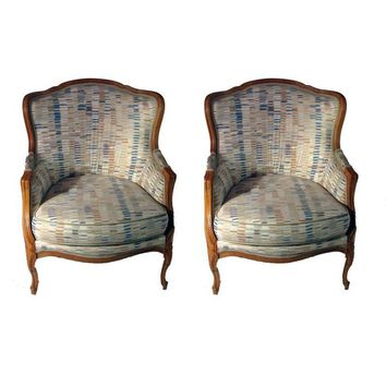 Pre-owned Mid-Century French Bergere Accent Chairs - A Pair