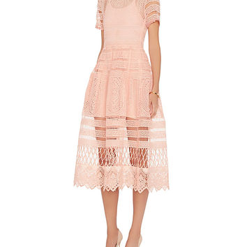 Alexis Alanna Blossom Embroidered Lace Dress: Blush at INTERMIX | Shop Now | Shop IntermixOnline.com