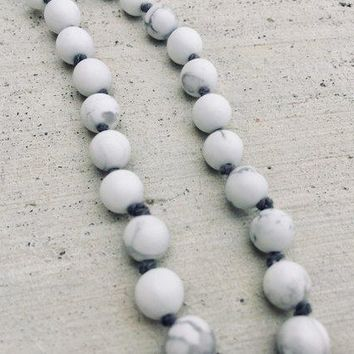 Howlite Mala Beads - Tassel Necklace - Knotted - 108 Beads - 10% to Charity