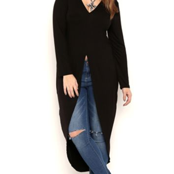 Plus Size Long Sleeve Extreme High Low Tunic Top with Open Front