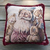 Vintage 11x11 inch Tapestry Pillow Victorian Santa Claus with Toys Teddy Bear Rabbit Hobby Horse - Maroon Velveteen Back Decorative Cushion