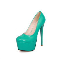 Patent Leather Round-Toe Spool Heels Pumps