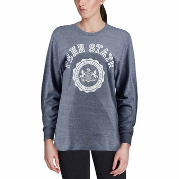 Women's Navy Penn State Nittany Lions League Oversized Twisted Tri-Blend Long Sleeve T-Shirt