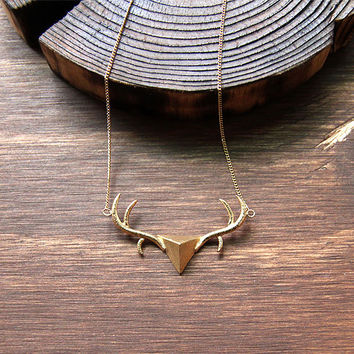 Deer head, Deer antler, Deer horn Handmade necklace, Deer jewelry, Handcraft jewelry