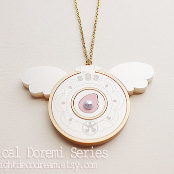 MADE to ORDER Hana's Compact Necklace from Ojamajo Doremi Dokkan Fanart Inspired for Magical Girl and Mahou Kei Fan