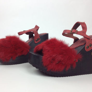 90's El Dantes Red Rabbit Fur and Leather Mega Platform Wedge Cyber Goth Sandals // 9