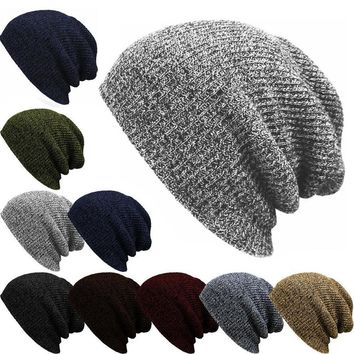 Winter Casual Cotton Knit Hat Men Baggy Beanie Hat Crochet Outdoor Ski Cap Street Dance Mask Skullies Toucas Gorros