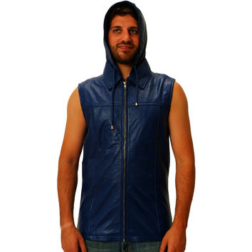 Mens Leather Shirt Blue Zip Up Sleeveless Hoodie Spread Collar Silk lined