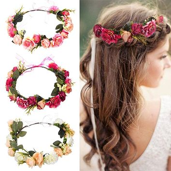 M MISM Bride Women Flower Crown Hair Band Wedding Floral Headband Garland Ribbon Bow Girl Flower Wreath Elastic Hair Accessories