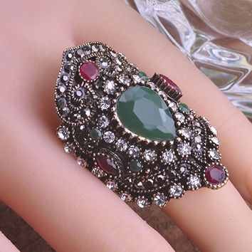 Retro Multicolor Exquisite CZ Diamond Mosaic Ring Turkish Anel Emerald Fine Jewelry Engagement Rings Stainless Steel Rings Bague