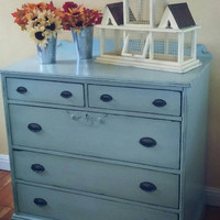 Antique dresser, beachy dresser, Distressed dresser, shabby chic dresser, rustic dresser, blue dresser, painted dresser, childrens furniture