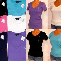 NWT POLO RALPH LAUREN SPORT WOMEN'S POLO SHIRT V-NECK T-SHIRT XS S M L XL