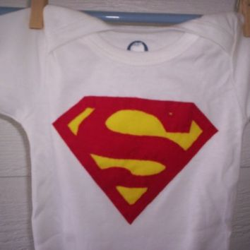 Superman Applique Onesuit by WillingHandsCrafts on Etsy