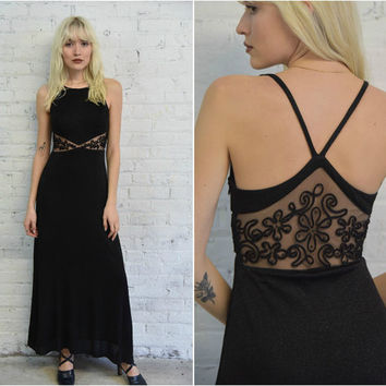 90s black sparkle cocktail party dress / 1990s strappy black metallic prom dress with sheer panels