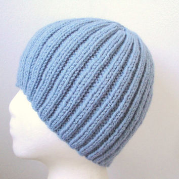 Blue Ribbed Beanie Hat for Men, Teens & Boys, Hand Knit Wool Acrylic, Toque