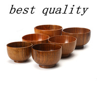 Natural Jujube Wooden bowl chinese soup rice Noodles bowls Kids lunch box kitchen tableware for baby feeding food containers