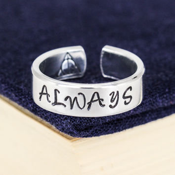 Always Ring - Harry Potter - Deathly Hallows - Adjustable Aluminum Cuff Ring - Style B