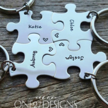 Customized Nicknames or regular Name Puzzle Piece Key Chain Personalized best friends sorority sisters key chain