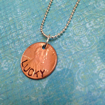 Lucky Penny Hand Stamped Necklace