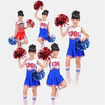 Children's Cheerleading Team Performance Clothing Clothes&Skirt&Sock Sports Basketball School Baby Gymnastic Girls Dress 3-14T
