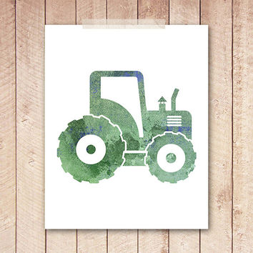 8x10 Art Print, PRINTABLE Green Tractor Work Vehicle Boys Room Nursery Printable Instant Download, Truck Nursery Print