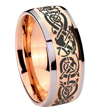 8mm Celtic Knot Dragon Dome Rose Gold Tungsten Carbide Promise Ring