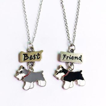 2PCS/SET Schnauzer pet dog Necklaces Best Friends Pendant Necklace for women men girls friendship Party gifts jewelry dog charms